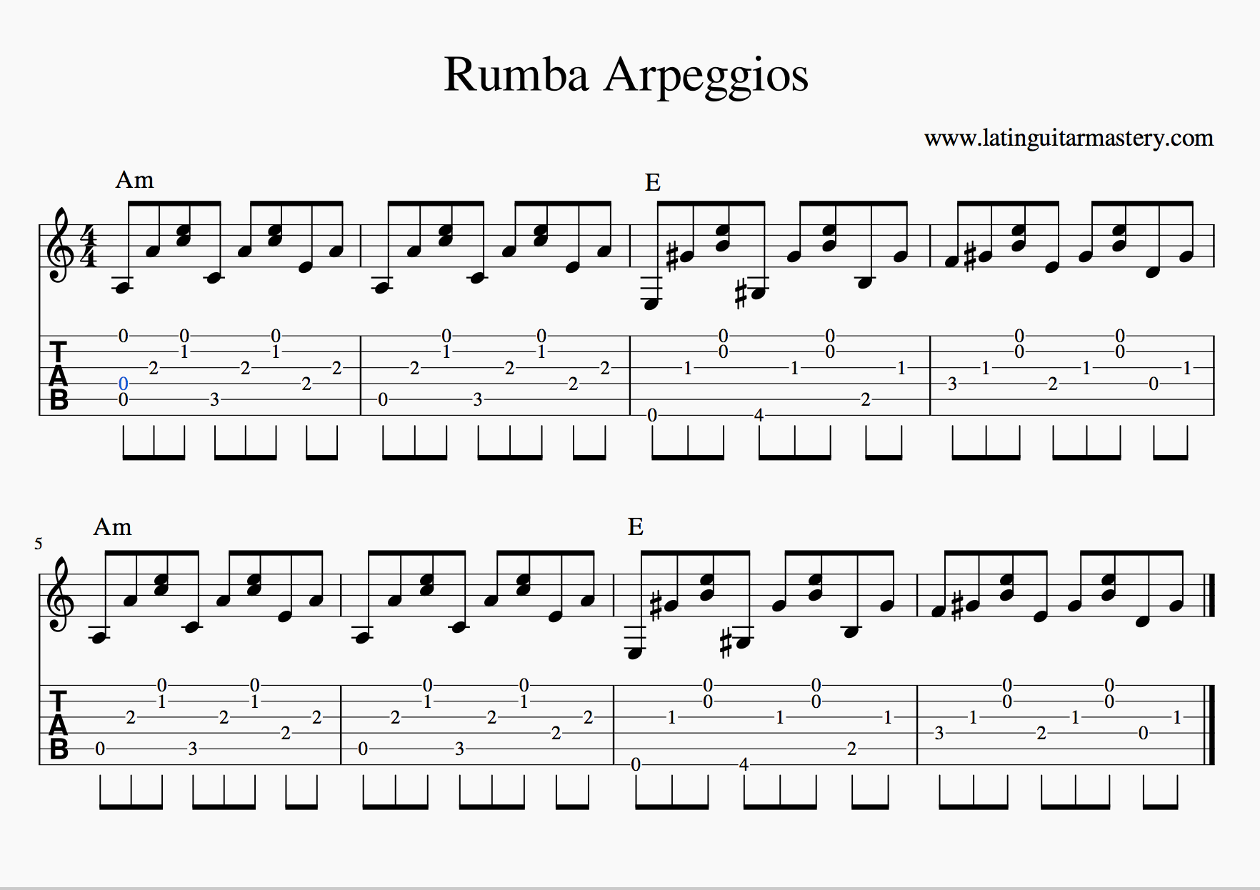 Rumba Picking Pattern In A Minor Latin Guitar Mastery